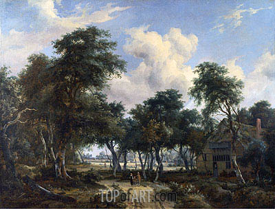 A Woody Landscape with a Cottage, c.1665 | Meindert Hobbema | Painting Reproduction