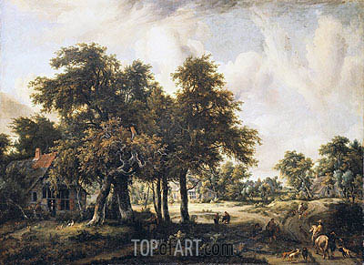 Wooded Landscape with Cottages, c.1665 | Meindert Hobbema | Painting Reproduction