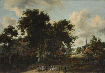 Entrance to a Village, c.1665 | Meindert Hobbema | Painting Reproduction