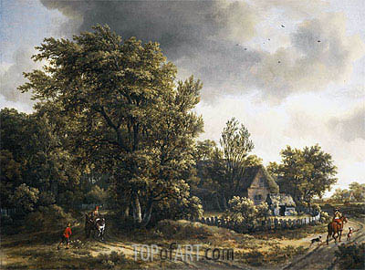 Wooded Landscape with a Village, c.1665 | Meindert Hobbema | Painting Reproduction