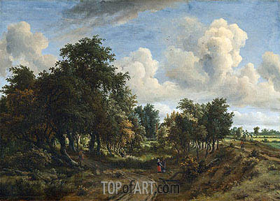 A Wooded Landscape, 1663 | Meindert Hobbema | Painting Reproduction