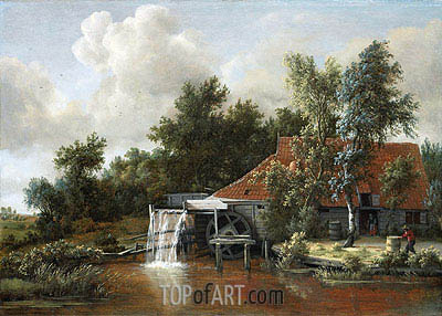 A Watermill, 1668 | Meindert Hobbema | Painting Reproduction