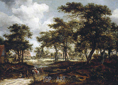 Wooded Landscape with Travellers and Beggars on a Road, 1668 | Meindert Hobbema | Painting Reproduction