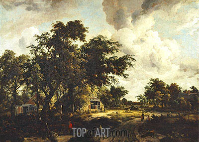 Village with Water Mill among Trees, c.1665 | Meindert Hobbema | Painting Reproduction
