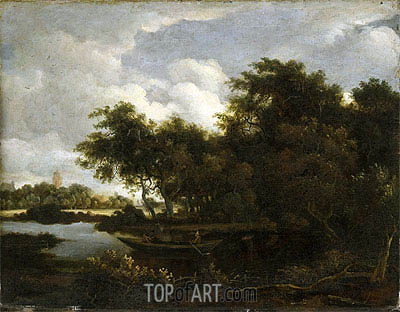 Landscape with a River, Undated | Meindert Hobbema | Painting Reproduction