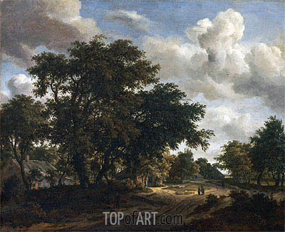 Landscape with a Wooded Road, 1662 | Meindert Hobbema | Gemälde Reproduktion