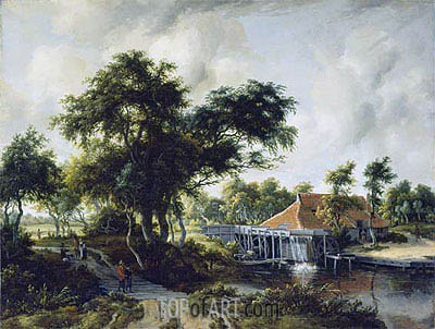 A Watermill, c.1663 | Meindert Hobbema | Painting Reproduction