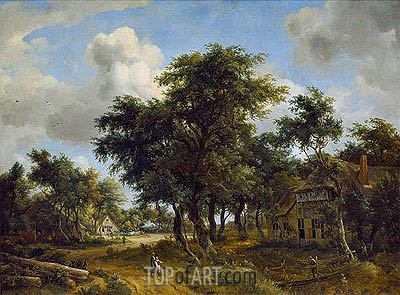 Village Street under Trees, c.1665 | Meindert Hobbema | Painting Reproduction