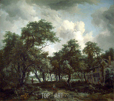 Hut among Trees, c.1664 | Meindert Hobbema | Painting Reproduction