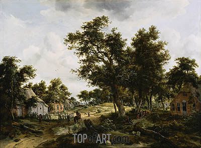 A Wooded Landscape with Travelers on a Path Through a Hamlet, c.1665 | Meindert Hobbema | Painting Reproduction