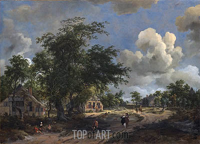 A View on a High Road, 1665 | Meindert Hobbema | Painting Reproduction