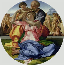 Holy Family with St. John (Doni Tondo), c.1504/05 von Michelangelo | Gemälde-Reproduktion