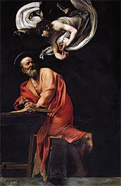 Saint Matthew and the Angel, 1602 by Caravaggio | Painting Reproduction