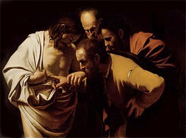 The Incredulity of Saint Thomas (Doubting Thomas), c.1602/03 by Caravaggio | Painting Reproduction