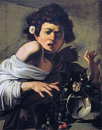 Boy Bitten by a Lizard, c.1595/00 by Caravaggio | Painting Reproduction