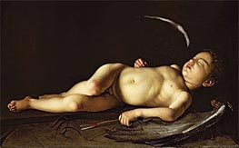 Sleeping Cupid, c.1595/96 by Caravaggio | Painting Reproduction