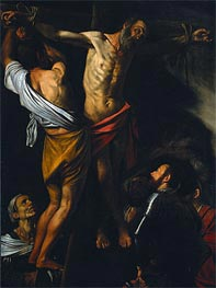 The Crucifixion of Saint Andrew, c.1606/07 by Caravaggio | Painting Reproduction