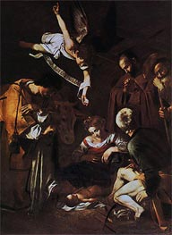 Nativity with Saints Lawrence and Francis, 1609 von Caravaggio | Gemälde-Reproduktion