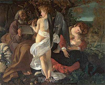 The Rest on the Flight into Egypt, c.1595 | Caravaggio | Painting Reproduction