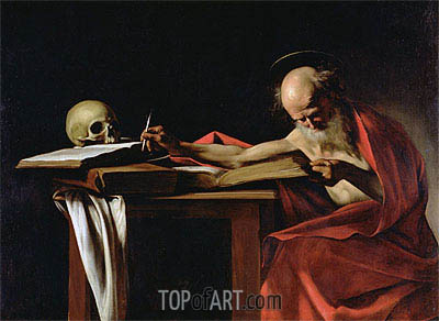 Saint Jerome Writing, c.1604/06 | Caravaggio | Painting Reproduction