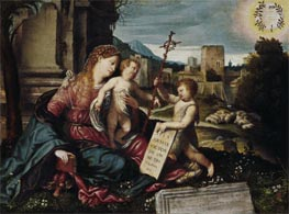 Madonna with Child and the Young St John | Moretto da Brescia | Gemälde Reproduktion