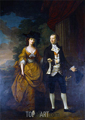 1st Lord Scarsdale and His Wide, Lady Caroline Colyear, 1761 | Nathaniel Hone | Painting Reproduction