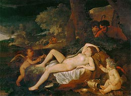 Reclining Venus with Cupid, undated by Nicolas Poussin | Painting Reproduction