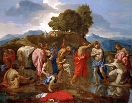 Christ Baptized by St John | Nicolas Poussin | Painting Reproduction