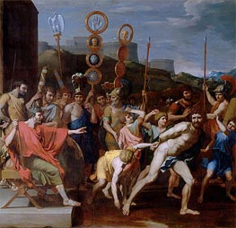 Camille Delivers the Schoolmaster of Falerii to His Pupils, 1637 by Nicolas Poussin | Painting Reproduction