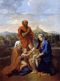 The Holy Family with St. John, St. Elizabeth and St. Joseph Praying | Nicolas Poussin | Gemälde Reproduktion