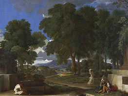 Landscape with a Man washing his Feet at a Fountain | Nicolas Poussin | Gemälde Reproduktion