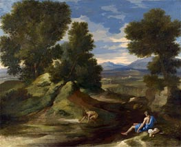 Landscape with a Man Scooping Water from a Stream | Nicolas Poussin | Gemälde Reproduktion