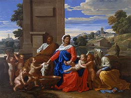 The Holy Family with the Infant Saint John the Baptist and Saint Elizabeth | Nicolas Poussin | Gemälde Reproduktion