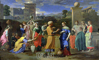 Eliezer and Rebecca at the Well, 1648 | Nicolas Poussin | Painting Reproduction