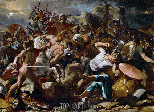 Joshuas Victory over the Amorites, 1624 | Nicolas Poussin | Painting Reproduction