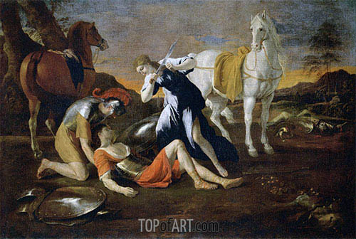 Tancred and Erminia, c.1628/32 | Nicolas Poussin | Gemälde Reproduktion