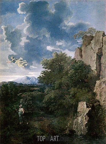 Landscape with Hagar and the Angel, undated | Nicolas Poussin | Gemälde Reproduktion