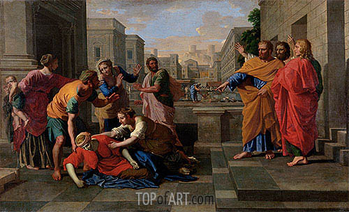 The Death of Sapphira, c.1654/56 | Nicolas Poussin | Gemälde Reproduktion