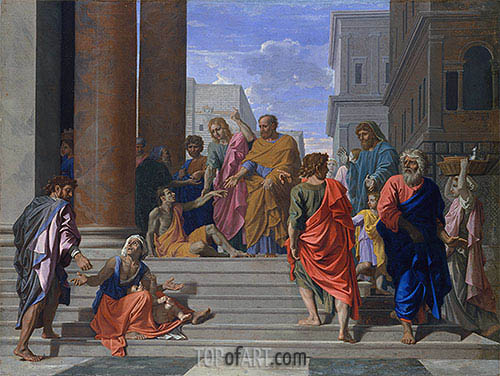 Saints Peter and John Healing the Lame Man, 1655 | Nicolas Poussin | Gemälde Reproduktion