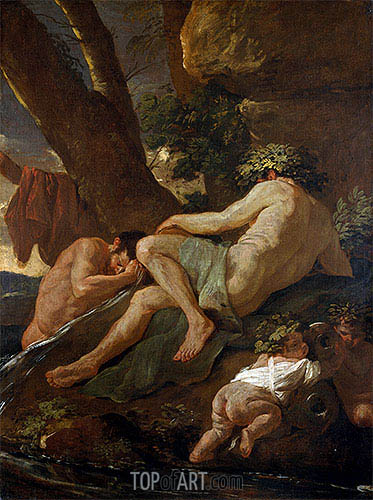 Midas Washing at the Source of the Pactolus, c.1627   Nicolas Poussin   Gemälde Reproduktion