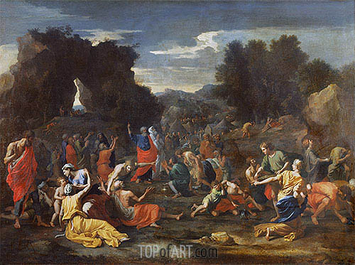 Israelites Gathering Manna in the Desert, c.1637/39 | Nicolas Poussin | Gemälde Reproduktion