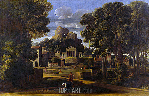 Landscape with the Gathering of the Ashes of Phocion, 1648 | Nicolas Poussin | Gemälde Reproduktion