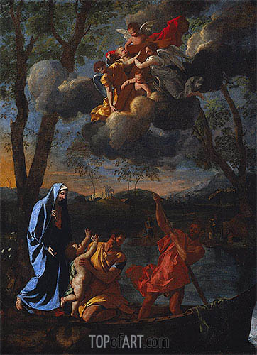 The Return of the Holy Family to Nazareth, c.1627 | Nicolas Poussin | Gemälde Reproduktion