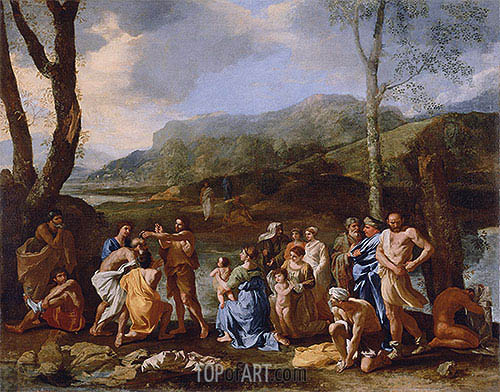 Saint John Baptizing in the River Jordan, c.1630 | Nicolas Poussin | Gemälde Reproduktion