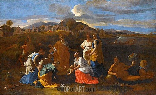 Moses Rescued from the Water, 1647 | Nicolas Poussin | Gemälde Reproduktion