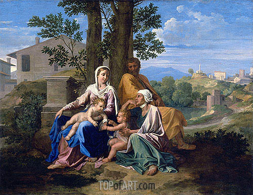 The Holy Family with Saint John and Saint Elizabeth in a Landscape, c.1650 | Nicolas Poussin | Painting Reproduction
