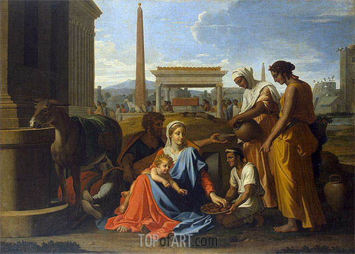 Holy Family in Egypt, c.1655/57 | Nicolas Poussin | Gemälde Reproduktion