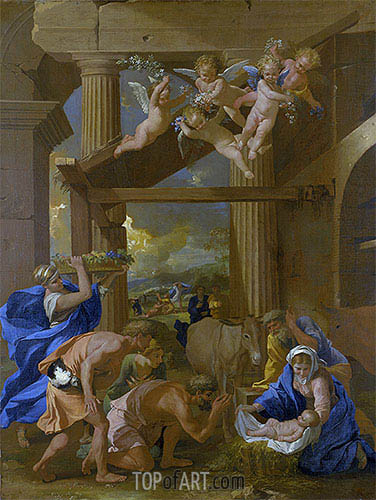 The Adoration of the Shepherds, c.1633/34 | Nicolas Poussin | Gemälde Reproduktion