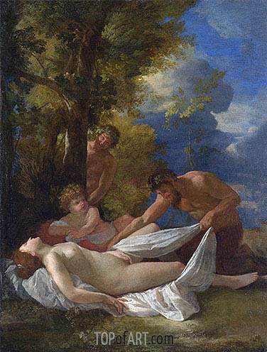 Nymph with Satyrs, c.1627 | Nicolas Poussin | Gemälde Reproduktion