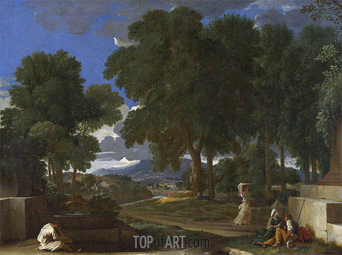 Landscape with a Man washing his Feet at a Fountain, c.1648 | Nicolas Poussin | Gemälde Reproduktion